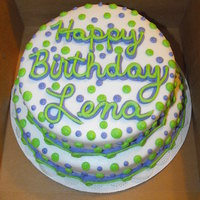 "Green And Purple Polka Dots 10'' and 8"" chocolate and lemon cakes iced with BC. TFL"