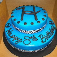 "Blue And Zebra This was a 10 & 8"" white cake iced with BC and trimmed with Zebra ribbon. Not a show cake by any means but the birthday girl loved..."
