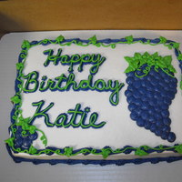 Vineyard Owners Birthday This was fun but I just couldn't get the grapes to look right. Iced with BC icing.TFL