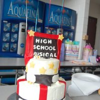 High School Musical  The bottom: 8inch dbl layer covered in almond buttercream.The top: 6inch dbl layer covered in almond buttercream.The accent pieces are mmf...