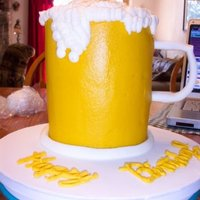 "Big Mug Of Beer!   This is 3 6"" cakes stacked together & frosted with buttercream. The handle is mmf."