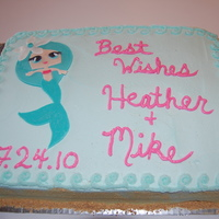 Mermaid Bridal Shower Cake  This is an 11x13in dbl layer cake covered in almond buttercream. The mermaid is fondant & was made to match the mermaid on the invites...