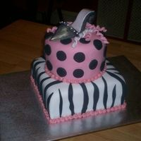 High Heel Shoe Cake Funky tween bday cake covered in fondant. The shoe is sculpted black fondant and brushed with pearl luster.