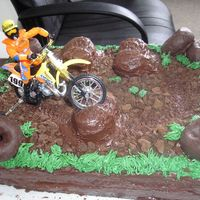 Dirt Bike  Chocolate cake with chocolate frosting. I cut Twinkies in half and frosted over for the mounds. Dirt is chocolate graham cracker and...