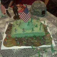 13 Delta Good Luck This cake was made for my nephew who is leaving for basic training in the army in a couple of days! The camo on the bottome is fondant then...
