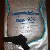 Police Academy Graduation This cake was done for my husband's Class Graduation from Police Academy. The cake was was covered in Fondant and then painted with...
