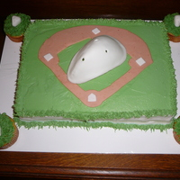"Baseball ""cup"" Cake This cake was done as a joke for a baseball umpire's birthday. The umpire lost his ""cup"" on the field during a game and it..."