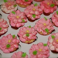 Pink Flowers   BC with fondant flower centers.
