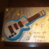 1St Guitar Cake So this was my first Guitar cake. I cut it out of a sheet cake and a loaf pan for the arm on the guitar. I traced a rockband guitar on card...
