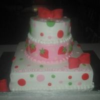 Strawberry Shortcake Babyshower Vanilla, Chocolate and WASC tiers...covered in buttercream w/ fondant and rolled buttercream accents