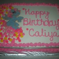 My Little Pony Birthday Cake 1/2 sheet, yellow cake w/ buttercream icing and royal icing pony