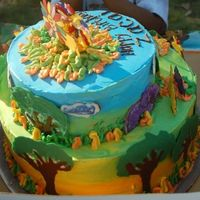 Safari Birthday Cake For Zacai vanila and chocolate tiers, covered in buttercream w/ CT animals. Inspired by Whimsical CakeHouse...if you decide to make one of these,...