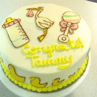 Babyshower Cake For A Coworker yellow cake w/ buttercream and CT accents