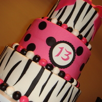 "Zebra Cake My biggest cake yet! 10"", 8"", 6"". Vanilla cake with buttercream. Fondant accents."