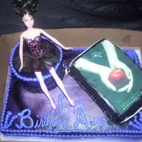 Gothic Barbie Cake The cake is a cream cheese buttercream covered red velvet cake...so is the book. The girl turned 14 and wanted a gothic looking ballerina....