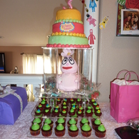 Yo Gabba Gabba Foofa Bday Cake My daughter's 3rd bday cake. 3 layer cake ( layers are lemon, red velvet, and chocolate) with strawberry cream filling. Foofa is made...