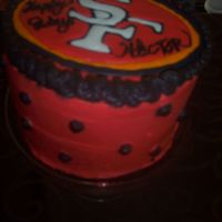 49Er Fan Birthday Cake It was my brother in law's birthday and he is a big 49er fan. Used Pastry Pride to coat and Color Flow for the emblem on top. The red...