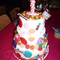 3Tier Candy Themed Cake My god daughter's 1st birthday was candy themed plus her dress was white with large colored polka dots so I made this cake to match...