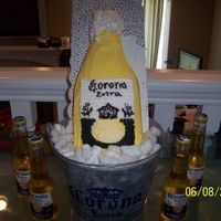 Danny's Corona Bottle Birthday Cake It was my cousin's 24th birthday and I chose to make him a beer cake shapped in the form of a corona bottle. I used actual corona in...