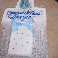 1St Communion Cake Used whipped icing for the decoration as it's a favorite in the family. It was for my nephew's 1st communion. It turned out to be...