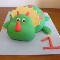 Dinosaur Birthday Cake This is my sons first birthday cake - the pressure was on as everyone was expecting a masterpiece! Body is carved choc mud cake covered in...