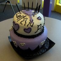 "Caitlin Rocks Birthday Cake My god daughter wanted a ""rock star"" themed cake with black, white and purple. She told me, ""I'm really into hearts and..."
