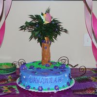 Tinkerbell Birthday Cake  This was a chocolate cake for my niece's bday..home made buttercream frosting spray painted blue. Flowers were made with fondant. The...