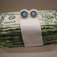 Stack Of Money With The Gogglie Eyes stack of money for my dads bday. Top bill fondant rest buttercream painted with coloring.