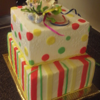 "Birthday Cake Two layers each of 12""and10"" vanila.Butter cream with fondant decorations.This only a recreation of a cake I saw here on CC,all..."