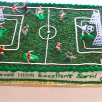 Soccer Field wasc cake with cream cheese filling.Butter cream decorations with wilton soccer set for an 8 year old soccer fan