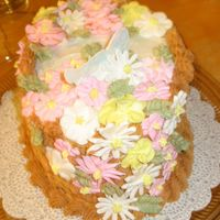 Final Cake For Course Ii Butter Buttercream icing with flowers and birds from course II