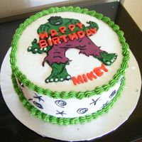 Incredible Hulk This is the first cake that I did for a client. It is in buttercream, and I used candy clay and fondant for the decorations.