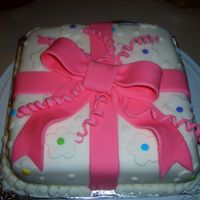 Wilton Gift Cake This is the first fondant cake I made in my wilton course 3.