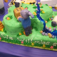 Ewe Will Bee Missed When You Move On To Greener Pastures All buttercream and fondant, river is tinted piping gel. 2nd time making fondant figures. TFL!