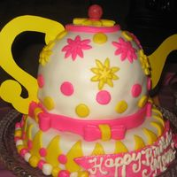 Teapot For Mom Used 2 cakes baked in Pyrex bowl to make body of teapot. Bottom layer is actually upside down cake pan. All MMF covered buttercream.