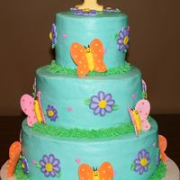 1St Birthday I did this cake for a 1st birthday. It's iced in buttercream and the flowers and butterflies are made from fondant. The 1 on top was...