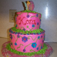 Kora's Tinkerbell Cake  BC with MMF accents. The tinkerbell topper was bought at Michaels. I saw it there after my last tinkerbell cake, and figured it would be...