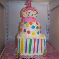Merayya's 1St Birthday Cake This cake was made for my daughter's first birthday. It is all BC with MMF accents. Rainbow Chip cake with fudge filling. Mmmm, it was...