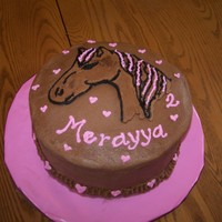 Merayya's Horse Cake This was for a small family birthday and I had just had another baby, so I did a really easy cake. All chocolate BC. The horse is a FBCT.