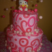 Makyla's Hello Kitty Cake This cake was for my daughter's birthday. It is BC with MMF accents. The topper was a Hello Kitty marshmallow pop bought at Walgreens...