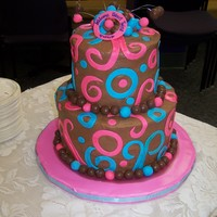 Erica's Baby Shower Cake This was a cake for my friend's baby shower, having twins a boy and girl. Chocolate BC.