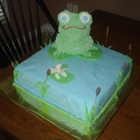 Froggy Cake frog cake made from wilton 3D bear pan. I only had the two pieces of this pan that I bought that day from someone who lived 1/2 hour away...