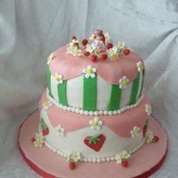 "Strawberry Shortcake 8"" and 10"" tiers WASC with IMBC and fondant. Only non edible is Ms. Strawberry herself. Lots of fun to do and girly. TFL!"