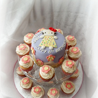 "Hello Kitty! Cupcakes and 6"" inch cake for little girl's birthday. WASC and IMBC for both cupcakes and cake and fondant decorations all hand..."