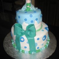 "Baby On Top... 10"" & 6"" round cakes. Covered and decorated in Satin Ice fondant."