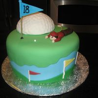 "Father's Day Golf Cake 10"" round cake with half ball cake on top... covered/decorated in fondant."