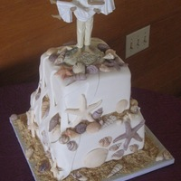 Sea Shell Wedding Cake Small cake for a couple who had their caterer provide cupcakes for dessert, but still wanted a cake to cut at the ceremony and an...