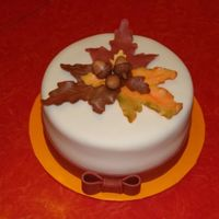 Fall Cake   fall leaves with acorns, everything is done with fondant.