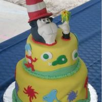 "Dr.seuss Birthday Cake  This was made for my first ""paying"" client. I was very happy with it other than a small fondant issue. The cat in the hat is made..."