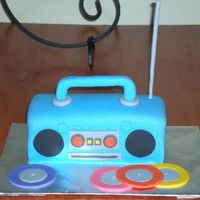 Boombox Birthday Cake For My Oldest Son. I got this idea from a Wiltons cake book. It was by far the easiest cake I have made. Everyone at the party loved it.